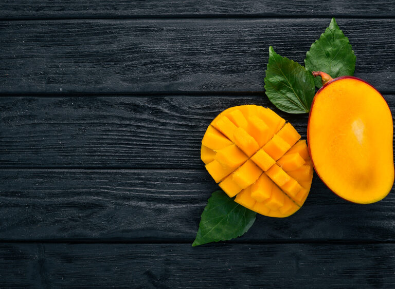 Mango.,Tropical,Fruits.,On,A,Wooden,Background.,Top,View.,Copy