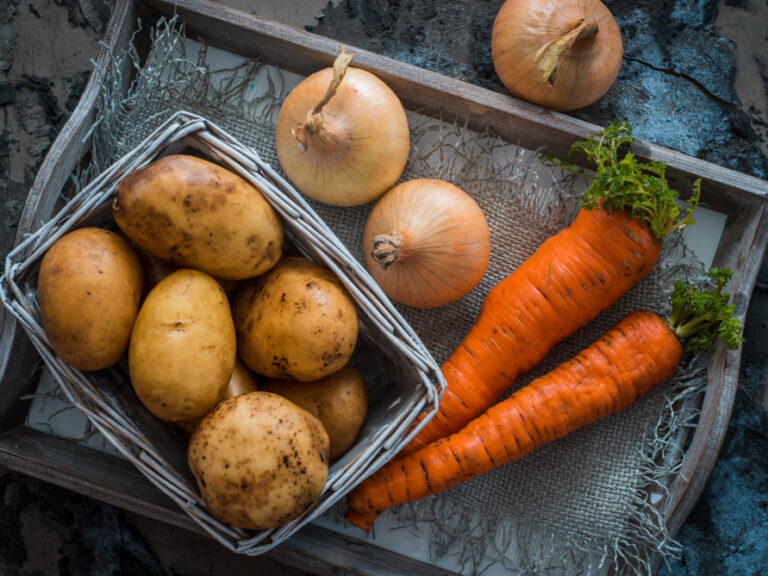 Mixed,Vegetables.,Potatoes,,Carrots,And,Onions,In,A,Basket.,Cooking
